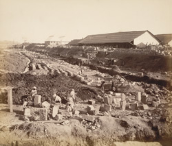 S. wall, Nicol Basin, in course of demolition [Victoria Dock construction, Bombay].